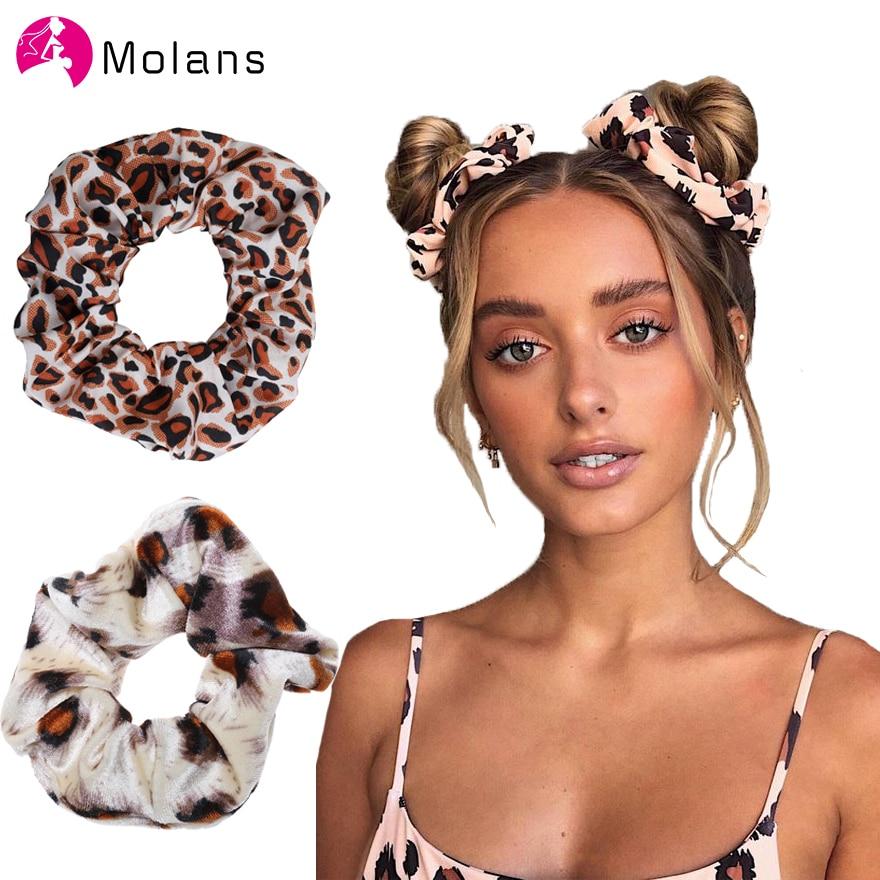 Molans 2Pcs/Set Girls Leopard Print Elastic Hair Bands Solid Satin Ponytail Holder Bands Tiger Snake Print Suede Scrunchies