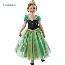 Girls Princess Elsa Anna Costumes Kids Snow Queen Tutu Dress Elsa Dresses Puffle Sleeve Prom Party Dress Vestidos 2-10 Years недорого