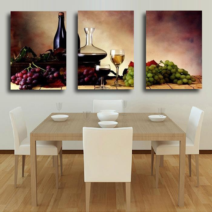 3 Pieces Free Shipping Modern Wall Oil Painting Abstract wine fruit Kitchen Wall Art Picture Paint on Canvas Prints Unframed