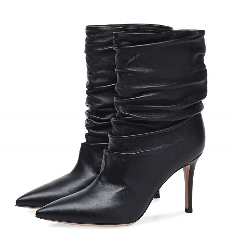 Women Mid Boots 2019 Sheepskin Leather Pointed Toe Thin Heels Boots Sexy Women Fashion Pleated Stretch