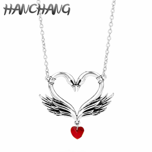 Swan Necklace ALP Drop Shipping Swan Necklace Hollow Heart With Red Heart Love Pendant  Necklace Couple Wedding Jewelry Gifts