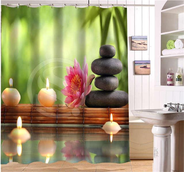 G1010 personnalis tranquillement spa zen pierres fleurs for Rideau de douche moderne