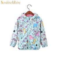 Sunshine & Rainy 2018 Spring Kids Unicorn Jacket For Girls Dinosaur Baby Girl Jackets Coats Cartoon Hooded Girls Windbreaker