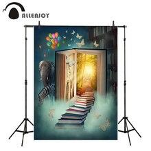 Allenjoy vinil fotográfico fundo Sonho animais bonito livro balão crianças cenário photocall personalizar profissional