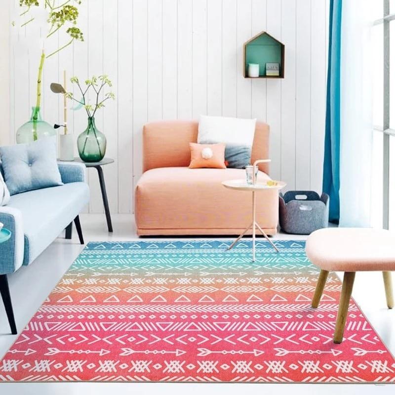 Rainbow Color Geometric Pattern Bedside Carpet ,120*180cm