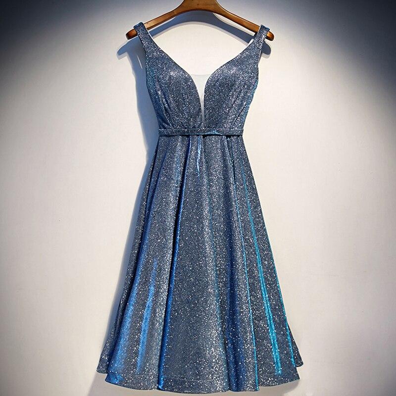 Elegant V Neck A-line Prom Dress