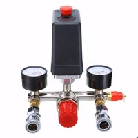 1pc 240V 20A Pressure Valve Switch 90 120PSI Manifold Regulator Gauges For Air Compressor