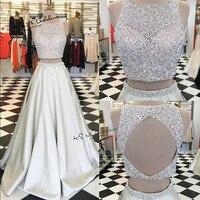Vestido de Festa Longo Sexy Long Evening Gowns Beaded Crystals Satin Two Piece Prom Dresses Party Open Back Abendkleider 2018
