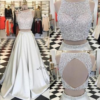 66252d24f Vestido de Festa Longo Sexy vestidos de noche largos cristales Satén de dos  piezas Prom vestidos de espalda abierta del Abendkleider 2018