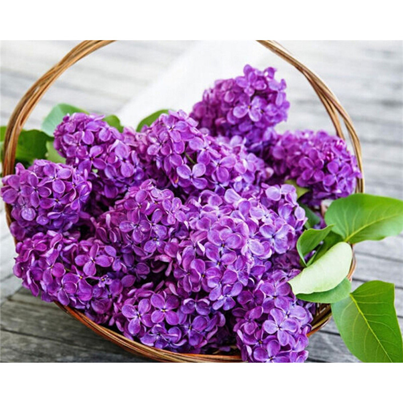 kits for embroidery purple flower diy diamond pattern