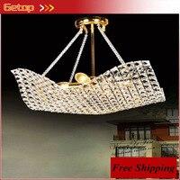 ZX Modern Luxury Crystal LED Pendant Lamp Restaurant Living Room Square Crystal Droplight Lustre Gold Indoor