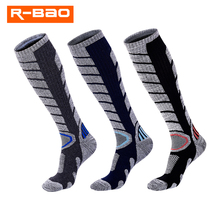 R-BAO Long Winter Cotton Ski Socks Men Women Outdoor Running Cycling Snowboarding Skiing Sport Socks Thermal Warmth RB3321