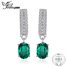 JewelryPalace Bornstone 1.7ct Oval Nano Russian Simulated Emerald Drop Auskarai Tikras 925 Sterling Silver Fashion Jewelry Gift