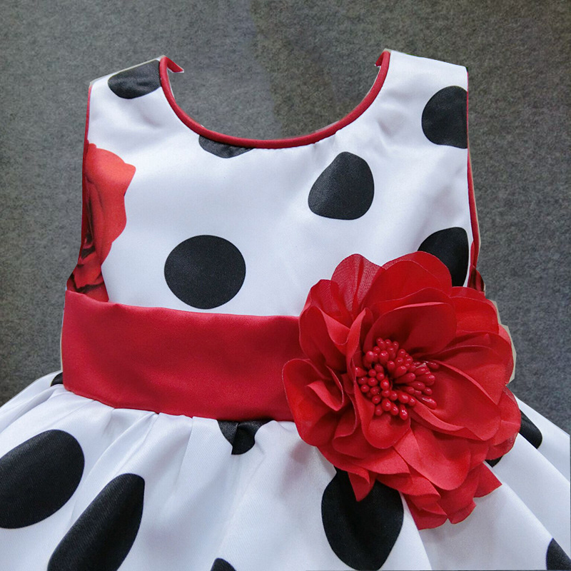 Image 3 - 6M 4T baby girls dress Black Dot Red Bow infant summer dress for birthday party sleeveless princess floral vestido infantilinfant summer dressesbaby girl dressvestido infantil -