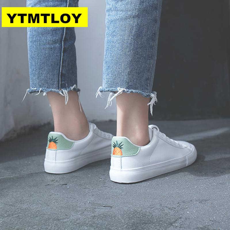 HOT Vrouwen Sneakers 2019 Fashion Breathble Gevulkaniseerd Schoenen Pu leer Platform Lace up Casual Wit sneaker Tenis Feminino