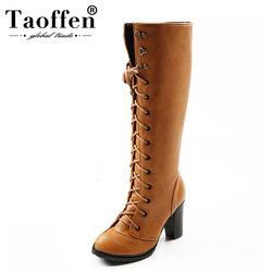 TAOFFEN/женские Сапоги выше колена на высоком каблуке, женские высокие зимние сапоги для верховой езды, теплые зимние сапоги, botas, Обувь на