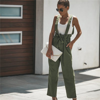 2019 Rompers Womens Jumpsuit Sexy Pockets Korean Office Playsuits Summer Green Playsuits Plus Size