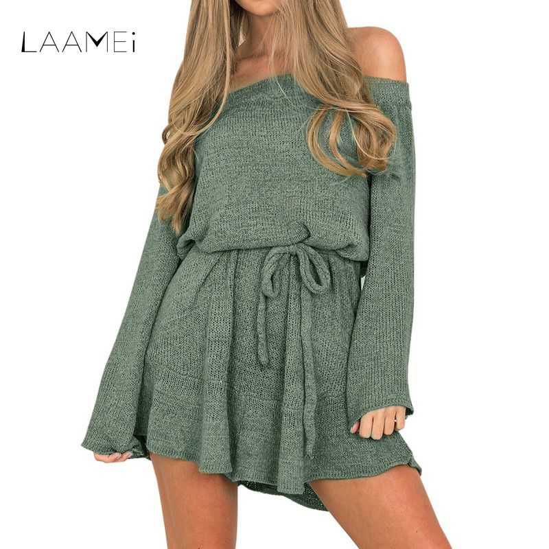 Laamei 2018 Spring Sexy Off Shoulder Pullover Knitted Sweater Dress Women Mini Elegant Loose Dress Long Sleeve Bandage Vestidos