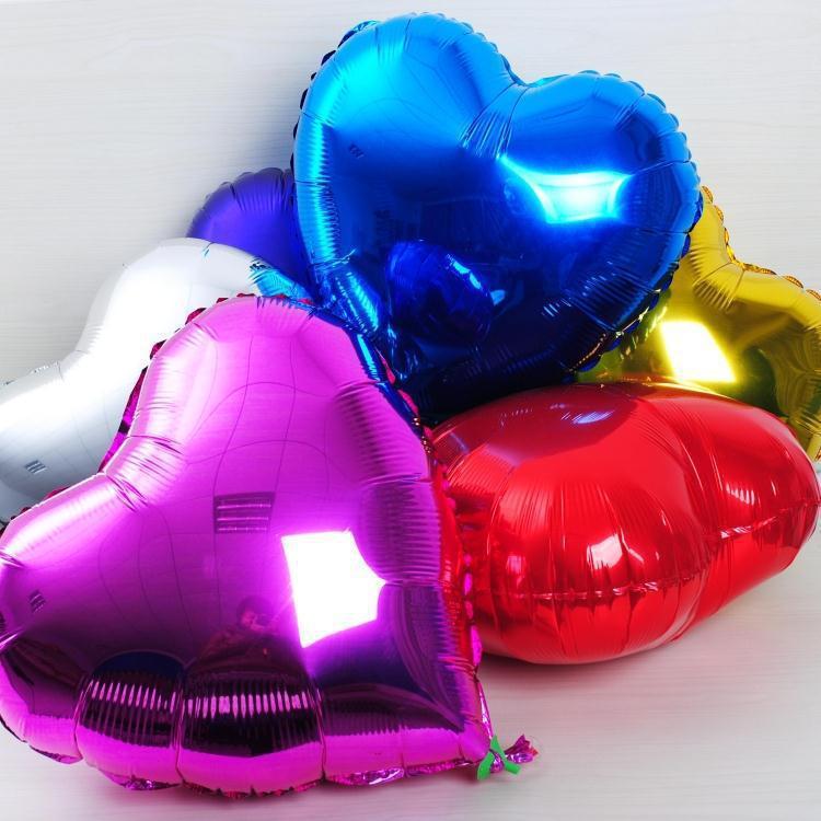 Разноцветные шары партии 18 дюймов разноцветные сердце алюминиевой фольги Свадьба баллоны украшения надувные
