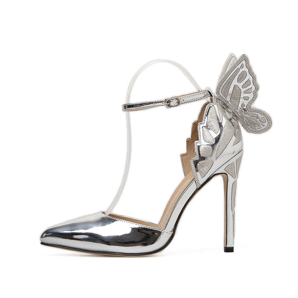 DongCiTaCi femmes talons hauts sandales chaussures femme pompes broderie rêveuse papillon cheville sangle robe de soirée de mariage OL talons aiguilles