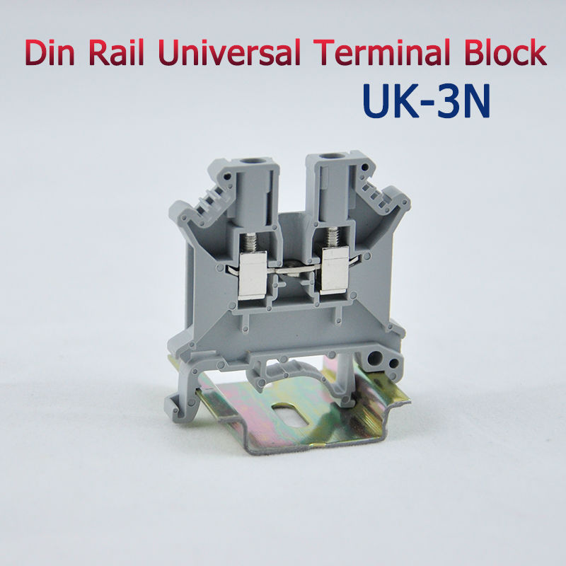 50pcs UK-3N DIN Rail Universal Terminal Blocks Screw Type UK3N Phoenix Type High Quality 50pcs uk5 twin uk5rd 4mm2 din rail screw clamp fuse terminal blocks connector