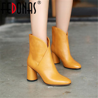 FEDONAS 2018 Women Ankle Boots Elegant Warm Winter Boots Genuine Leather Ladies Shoes Woman High Heeled Motorcycle Ladies Boots