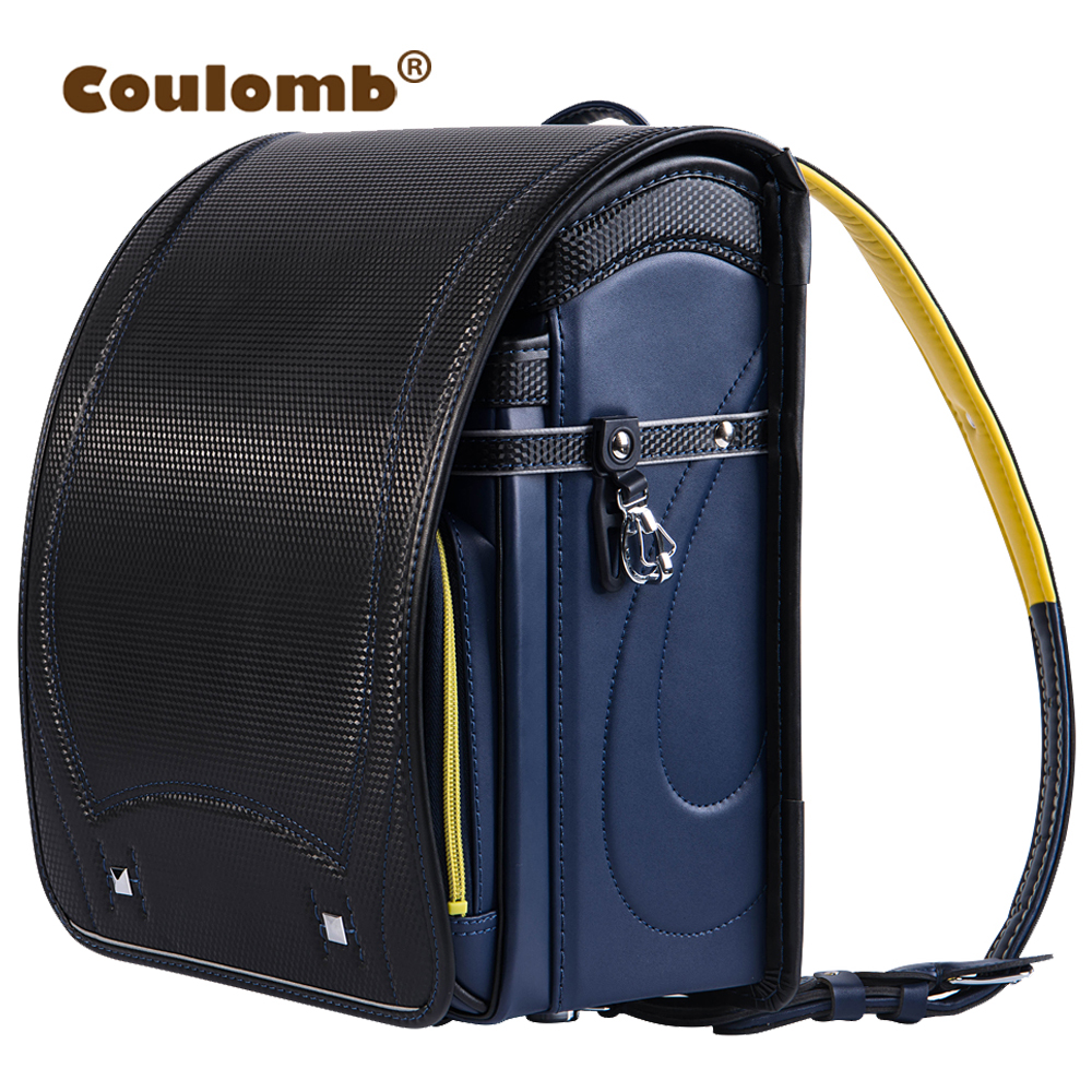 Coulomb Randoseru Backpack For Children School Bag Orthopedic Satchel PU Leather Solid Zipper&Hasp Baby Kids Book Bags For Boy russia brand children school backpack for girls lovely dog cats school bags orthopedic bag fashion kids satchel mochila infantil