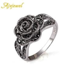 Ajojewel estilo retro vintage crystal rhinestone negro anillo de dedo de la flor para las mujeres de la marca de joyería de moda