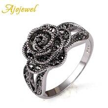 Ajojewel Vintage estilo Retro cristal Diamante de imitación negro flor dedo anillo para mujeres marca joyería moda
