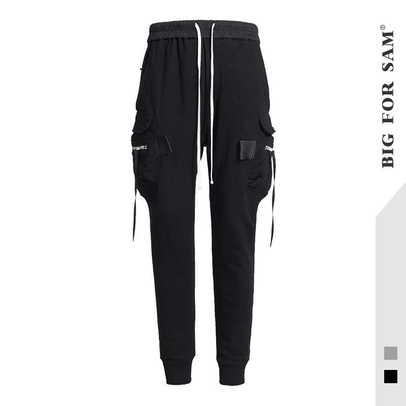 Men's Summer Casual Pants New Tide Brand Men's Elastic Waist Fashion Beam Trousers Cotton Multi-bag Wei Pants Men
