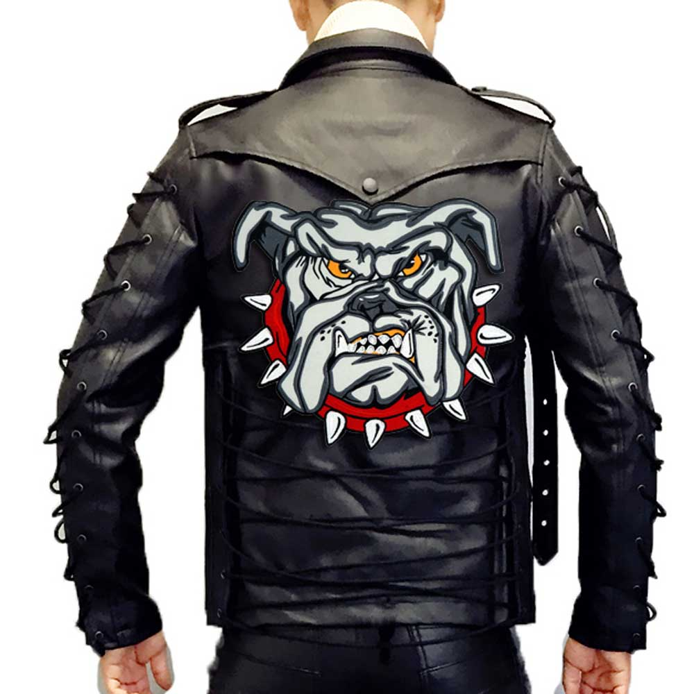 LARGE ANGRY Bulldog motorcycle backing Embroidered Sewing Label punk biker Patches Clothes Stickers Apparel Accessories Badge