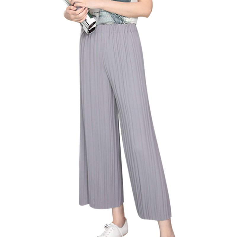 f392e303dde Summer Pant Elastic Waist Pleated Pants Nine Wide Leg Pants Big Swing  Culottes For Women-in Pants   Capris from Women s Clothing on  Aliexpress.com