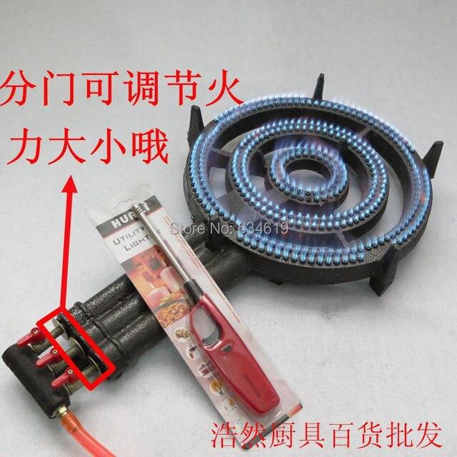Tinggi Api 3 Rings Propane Gas Hemat Energi Dapur Memasak Burner Besi Cor Kompor