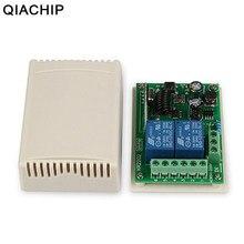 Qiachip 433 mhz ac 110 v 220 v 2 ch universal sem fio interruptor de controle remoto rf relé receptor aprendizagem botão luz módulo inteligente