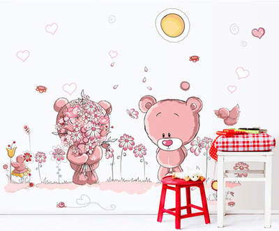 Lovely couple bear Fifth generation can remove the wall stickers   Stick on the wall