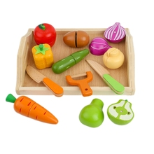 Wooden Cut Fruit And Vegetable Toys Children'S Wooden Simulation Play House Toy Kitchen Set baby toys simulation vegetable fruit seafood wooden toys for kids cut set prentend play large food set educational birthday gift