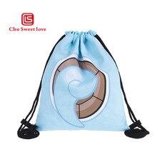 Fashion Drawstring Bag 3D Printing Mochila Feminina Drawstring Backpack Women Daily Casual Cartoon Girl's Canvas knapsack