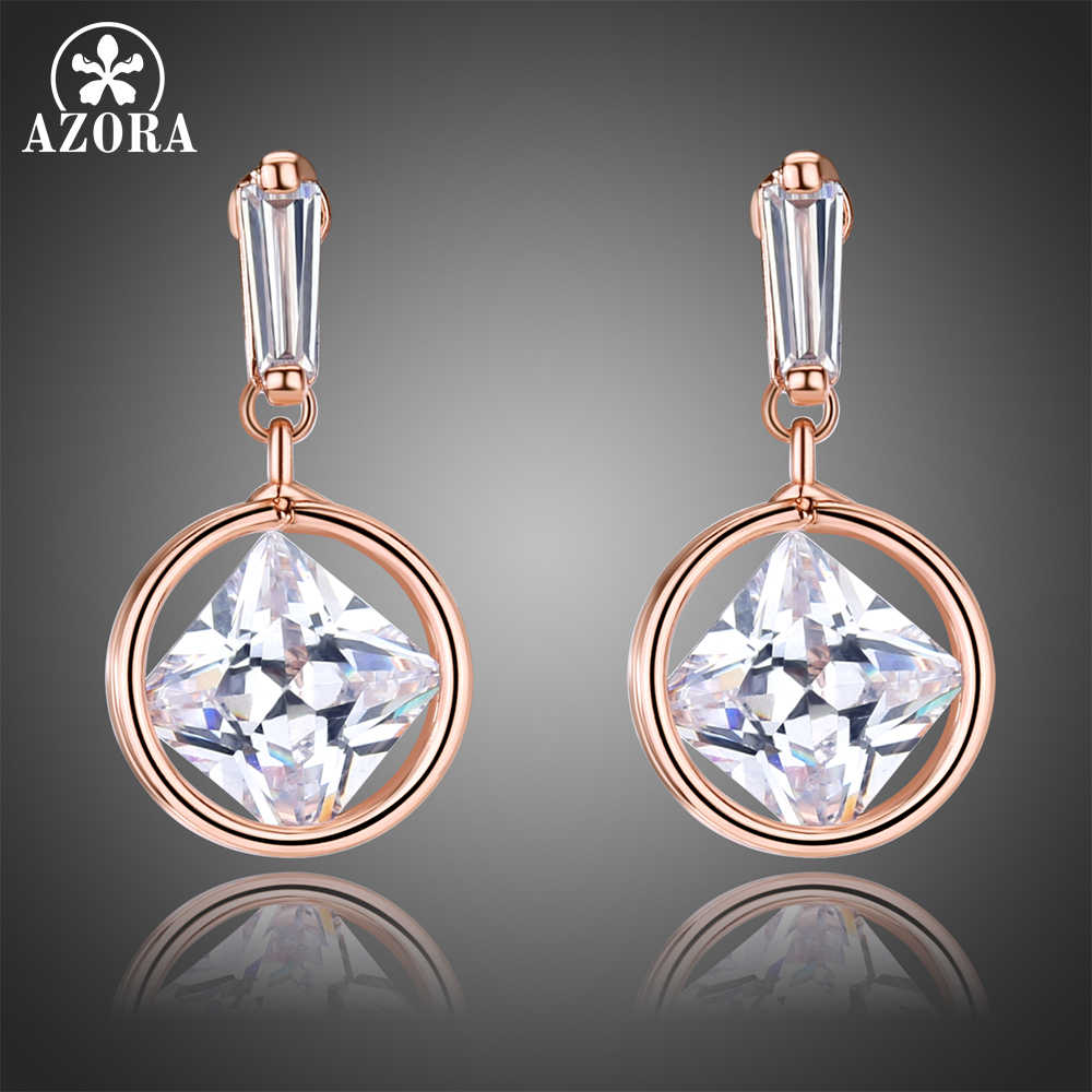 AZORA Rose Gold Color Drop Earrings for Women Round Dangle Square Clear Zirconia Earrings Female Jewelry Limited Edition TE0341