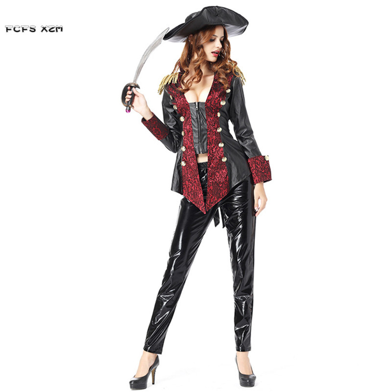 Sexy Leather Woman Halloween Pirate Costume for Female Warrior Queen Cosplay Carnival Purim Masquerade Nightclub Bar Party dress