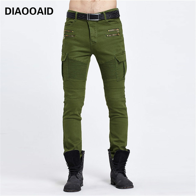37711851d0b1 2018 new Personality pocket stretch Slim pants male army green jeans  comfortable contton streetwear men hiphop denim trousers