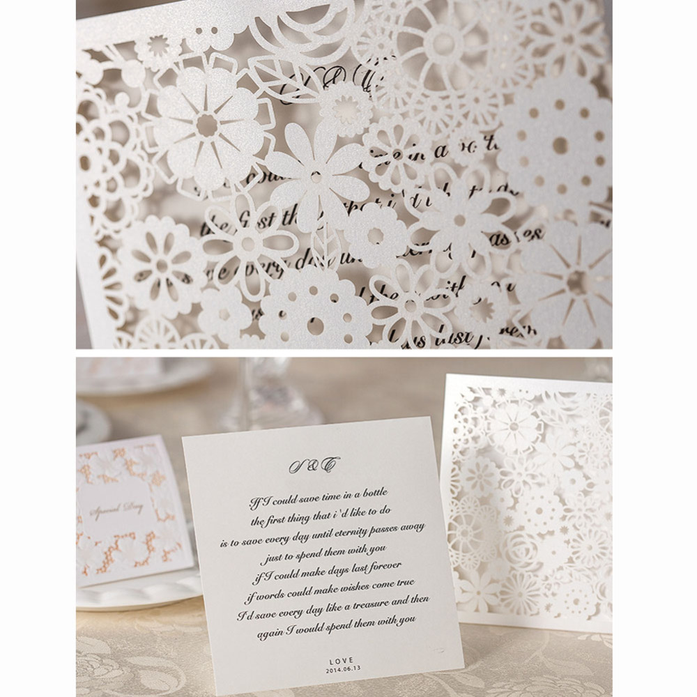 white lace laser cut wedding invitations cards 50pcs free shipping ...