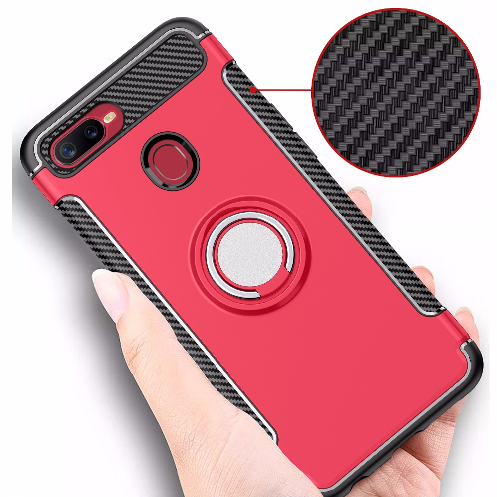Carbon Fiber Case For OPPO F9 Pro A7X Case For OPPO X23 Find X Cover For OPPO F5 F5 Youth Shell Soft Ring Armor Back Case