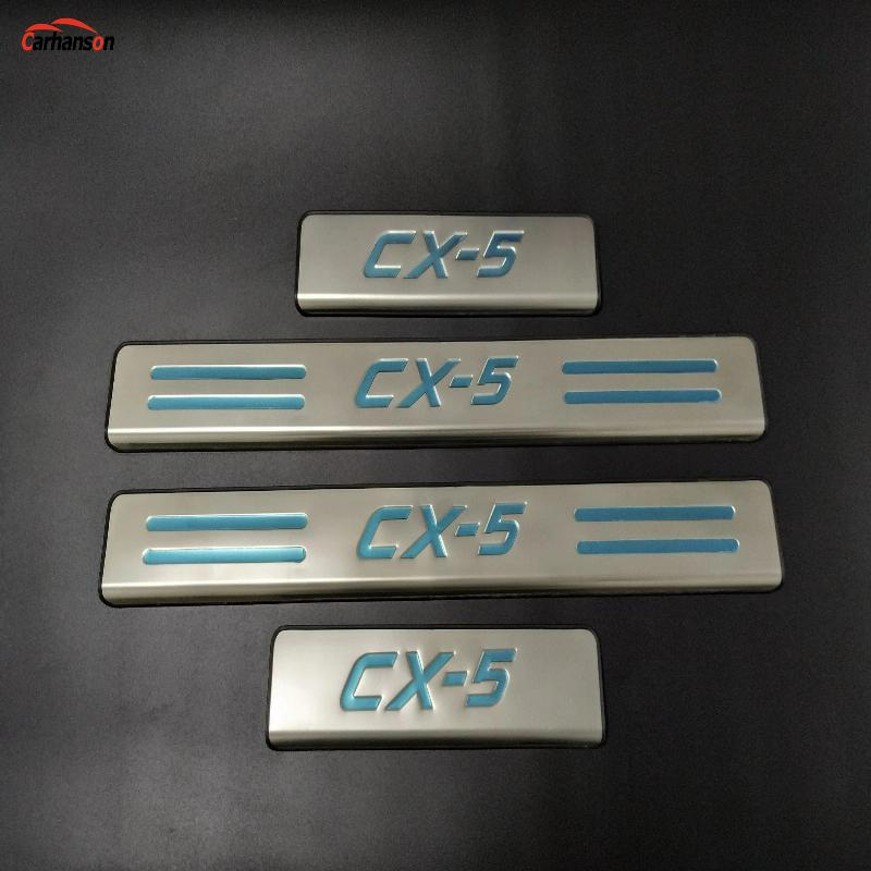 for Car Accessories Styling <font><b>Mazda</b></font> <font><b>CX</b></font>-<font><b>5</b></font> <font><b>CX</b></font> <font><b>5</b></font> CX5 Door Sill Scuff Plate Guard Stainless Door Sills Pedal Protector 2013 <font><b>2015</b></font> <font><b>2016</b></font> image