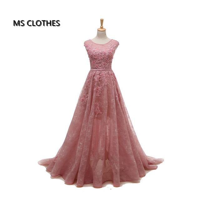 O-cuello del color de rosa azul marino apliques largo opacidad un line encaje Vestido de noche Formal Largo Vestidos de Fiesta para mujer de la Manga Del Casquillo 2017