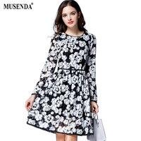 MUSENDA Cộng Với Kích Thước Phụ Nữ Đen Trắng In Ren Áo Ngắn Dress 2017 Mùa Thu Ngọt Ngào Nữ Đảng Dresses Vestido Quần Áo Áo