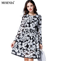 MUSENDA Plus Size Women Black White Print Lace Tunic Short Dress 2017 Autumn Female Sweet Party
