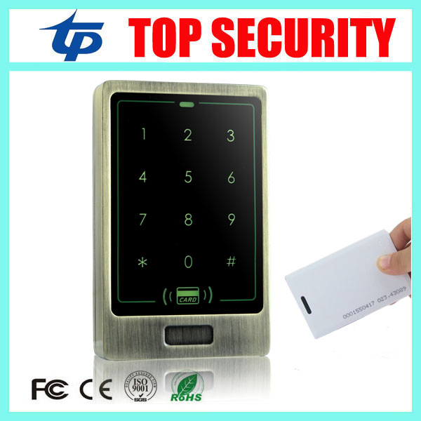 Standalone door access controller 8000 users touch keypad surface waterproof 125KHZ RFID card access control system card reader wg input rfid em card reader ip68 waterproof metal standalone door lock access control with keypad support 2000 card users