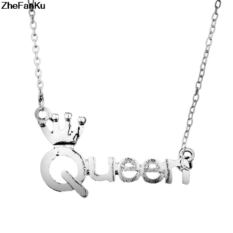 Fashion Queen Necklace Silver Color Crown Letter Queen Pendent Necklace For Women Fashion Accessories