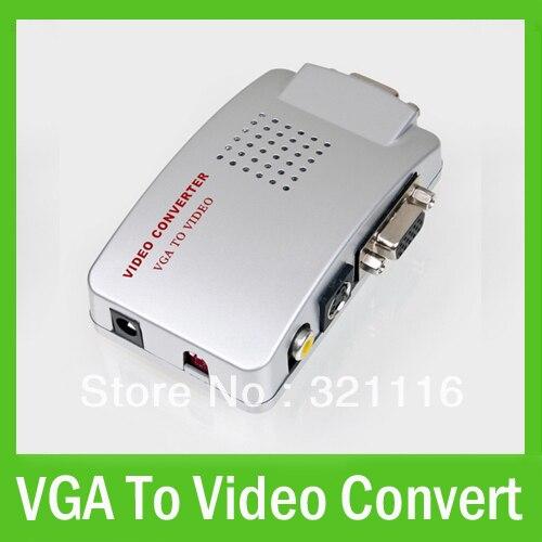 Free Shipping Universal VGA to Video AV TV S-Video Composite Converter Adapter For Laptop PC