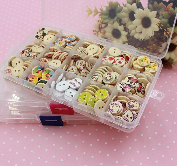 Freeshipping 15 grid plastic Transparent jewel case box